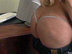 Bosomy and big bottomed blonde gives great blowjob to her boss