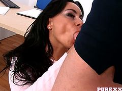 Seductive secretary seduces horny dude and  gives him best ever blowjob