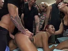 A naked redhead bitch with tattoo is fucked hard in public. The viewers enjoy watching the kinky scenes, presenting hardcore activities in different exciting positions: from behind, sideways, with legs widely spread. Click to see Daisy humiliated without mercy!