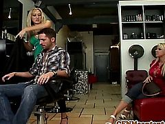 Cfnm Carolyn Reese and her hot porn pals suck cock in the hairdressers