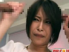 Double dicking horny Japanese mom. She knows how to satisfy the horniest dudes in town with her shy looks and dirty tricks. Saki Ootsuka sucks dicks at caffe shop.