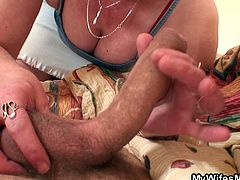 My Wifes Mom brings you a hell of a free porn video where you can see how this mature slut sucks and rides a young stud's cock while assuming very naughty positions.