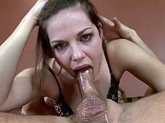 Bobbi Starr gives a sloppy deepthroat blowjob and gets cum on her lips