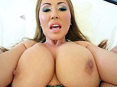 Kianna Dior is a dirty slut with a huge pair of tits. This Asian slut has her legs open and her cunt is ready, to accept my stiff hard rod. How could I control myself, when she has a pussy so wide and a cute looking butthole?