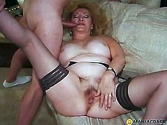 Mature aunt fuck two guys on the couch