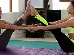 yoga sluts rub each other down