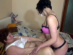 Fat grandma enjoying with big double dildo and young girl