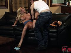 Blonde beauty Tasha Reign gets shaved pussy screwed hardcore
