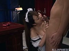 Kinky chubby Asian with big tits in maids uniform giving a racy blowjob before getting rammed hardco