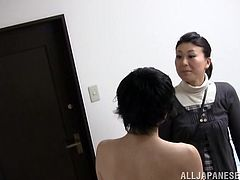 This sexy Japanese lady is a little chubby, but she is still sexy and she really knows, how to fuck. She lets her young male friend climb on top of her and grabs his dick hard. She is going to show him, how well she can suck a cock.