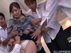 If you're into Japanese sluts, click to see a sexy teacher, undressed by her horny students right in the classroom! After removing the white bra, the guys enjoy the sight of her small lovely tits, which they squeeze in a lusty manner. See the slutty bitch down on knees and persuaded to suck cocks.