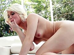 Ash Hollywood with tiny tities and shaved pussy fucking herself like crazy in solo scene