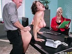 Why not take a break, when exhausted or bored at work? A horny guy is just looking forward, to squeezing some lovely big tits. The busty lady is a hot milf, which enjoys sucking a big cock, while sitting on a chair. Click to watch slutty Krissy, bending over the desk in the office, to be banged hard from behind.