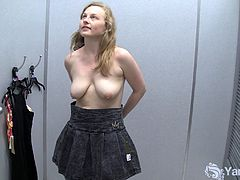 Watch this sexy amateur blonde babe Lili in this hot solo video, where she gets naughty on the camera for stripping off her clothes and shows her big titties and cunt in dressing room.