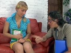 Teen Janet came for tutoring, but got something else. She is such a pretty blonde that her teacher can't help it. He must bury his dick in her tight fanny.