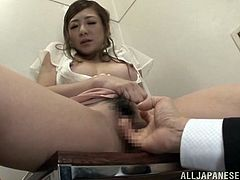 Do you find Asian bitches attractive? If so, don't hesitate to click and enjoy, watching a sensual Japanese lady, seduced by a horny guy in a public place. The slutty babe kisses her partner and allows him, to get under her skirt. See the naughty slut, getting aroused, while her lusty hairy cunt is being fingered.