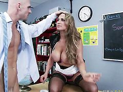 Alanah Rae with gigantic hooters is curious about oral sex with hard cocked dude Johnny Sins