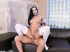 Brunette Larissa Dee is one hot cock rider that loves it so much