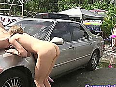College lesbians licking wet box in public at the car wash