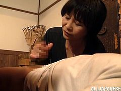 Take a look at this cute mature Japanese lady. she is playing coy, but after a nice talk she agrees to help her man cum. He lays back and she gives him a wonderful handjob. She loves to look and feel of his pecker. Will she make him cum?