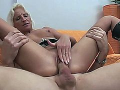 This tight-bodied blonde lady loves to get tag teamed.. all the way to a massive facial.