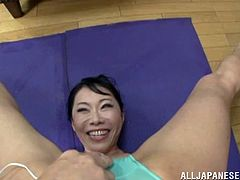 Ruriko Saimi is a hot Japanese milf who is very athletic and very flexible to say the least. She shows off her rubber body as she bends and twists in ways that will make you hard just watching her. She has a vibrator inside her shorts, pressed against her pussy, making her wet as she poses.
