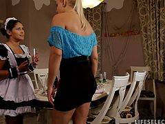 Housemaid Connie gets naughty after stealing some champagne after the party but got caught by this blonde Brandy and she punish her through toying her fresh pussy.