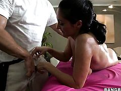 Ava Addams with juicy bottom makes dudes erect love wand disappear in her mouth in sexual ecstasy