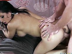 Charity Bangs screams from ednless orgasms after taking Johnny Castles stiff schlong in her pussy