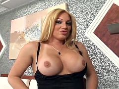 This beautiful transsexual babe pulls her tits out and shows off the sexy tanlines on her massive jugs. The female come in and licks the tranny's tits, as she strokes on her cock. The couple's male friend is in the corner, wanking and now, he wants to join in the threesome fun. The cute babe Camile, sucks both cocks.