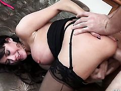 Claire Robbins has anal fun with hard dicked dude Manuel Ferrara after she gives headjob