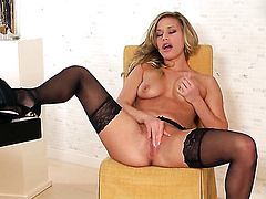 Kennedy Leigh with tiny tities and bald twat screams as she plays with herself
