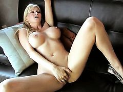 Blake Rose with massive breasts and smooth pussy gives pleasure to herself using dildo