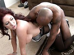 Milf Tiffany Mynx takes guys meat stick in her twat in steamy interracial action