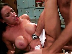 Vanilla Deville with massive melons gets the hole between her legs used by Keiran Lee