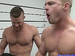 Landon Conrad in a Prison line up that turns into an oral orgy with dudes like Liam Magnuson