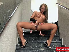 Christina cums hard after she stuffs her pussy with a big fat rubber dick.