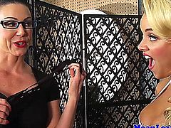 Lesbian pornbabe Alexis Monroe dominated by busty glasses wearing milf Kendra Lust