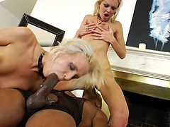 Beautiful cowgirl with natural tits in high heels enjoys her juicy pussy being licked before getting pounded hardcore in interracial sex