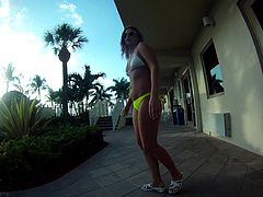 Curvy solo model babes with natural tits fingering her asshole outdoor