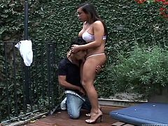 Ever wonder, what it's like to fuck a Mexican shemale? Watch this and find out. She is out in the garden with her man and they kiss. Her round booty is grabbed, as they make out. The cute couple takes turns sucking on each other's cocks.