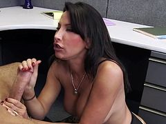 Wild office fuck along Lezley Zen
