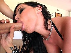 Mouth fucking brunette gets cumshot on face after ball licking in POV