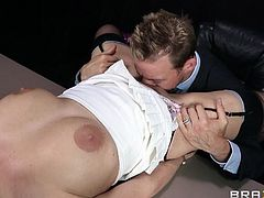 What can be more exciting, than a girl stripping in office? I tell you- nothing compares to a slutty babe with big tits, who knows, how to make a guy horny in just a sec! Sexy Britney is a blonde revelation, wearing hot lingerie and an open inciting attitude, inviting one to commit sinful desires. Click to see.