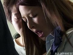 Do you like young Japanese sluts? The two school girls in the video have to face more than four angry and horny cocks. The guys persuade the sexy bitches into getting down on knees, to suck their dicks. The hungry men squeeze their small tits, too and need to satisfy the curiosity, to look under their skirts.