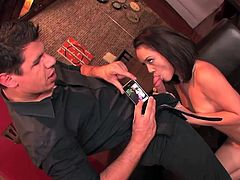Kristina Rose frames her hairy pussy on her phone before it gets fucked