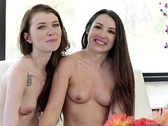 These beautiful girls love getting naked, chatting and hanging around their house just looking very sexy. The brunette get interviewed in the nude, while the blonde slut is chilling on the couch, talking on the phone. What nasty sex awaits them?