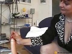 Woman on the couch touching the rubber member