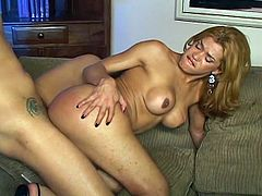 Hardcore anal pounding encounter on the couch as this sex crazed shemale sizzles hard in riding huge boner in his ass.