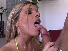 Charming MILF In Bikini Loves Cum In Her Mouth In Close Up